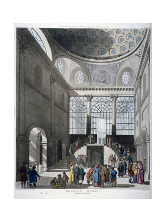 Interior View of the Middlesex Sessions House on Clerkenwell Green, London, 1809 Giclee Print by Augustus Charles Pugin