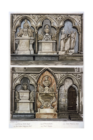 Monuments in the West Aisle of Westminster Abbey's North Transept, London, 1812 Giclee Print by Augustus Charles Pugin