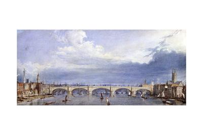 New London Bridge, London, 1829 Giclee Print by Augustus Charles Pugin