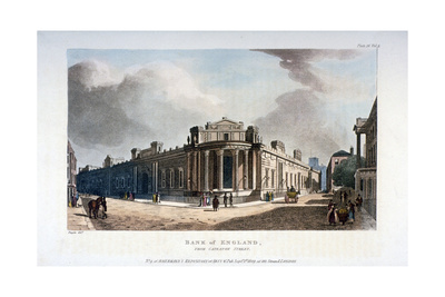 The Bank of England, from Cateaton Street, City of London, 1809 Giclee Print by Augustus Charles Pugin