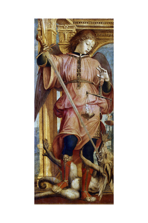 St Michael the Archangel Fighting a Dragon with a Sword, C1484-1526 Giclee Print by Bernardino Zenale
