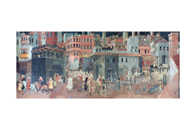 Effects of Good Government on the City Life, (Detail), C1330 Giclee Print by Ambrogio Lorenzetti