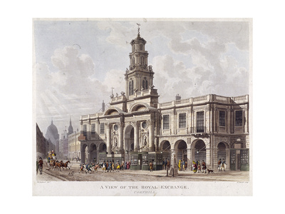 Royal Exchange (2N) Exterior, London, 1816 Giclee Print by Daniel Havell