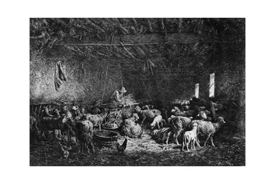 La Bergerie, (The Shepher), 1825-1890 Giclee Print by Charles Emile Jacque