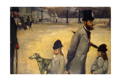 Place De La Concorde, (Viscount Lepic and His Daughters Crossing the Place De La Concord), 1875 Giclee Print by Edgar Degas