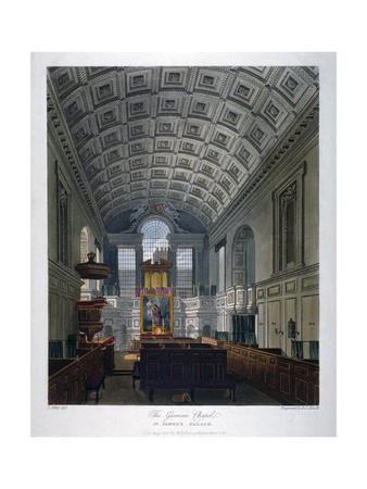 Interior View of the Chapel Royal in St James's Palace, Westminster, London, 1816 Giclee Print by Daniel Havell