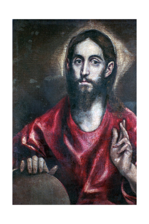 Christ Blessing (The Saviour of the World), 17th Century Giclee Print by  El Greco