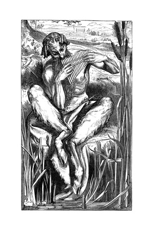 Pan Playing His Pipes, Wood Engraving, London, 1862 Giclee Print by Frederic Leighton