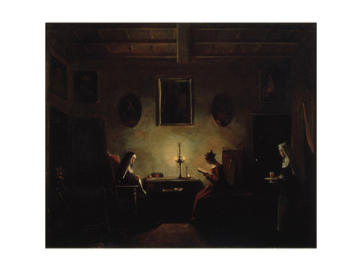 Scene in an Interior, 19th Century Giclee Print by Francois-Marius Granet