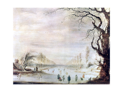 A Winter Landscape with Ice Skaters, C1606-1643 Giclee Print by Gysbrecht Leytens