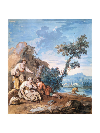 Three Peasants Resting on a River Bank, C1750 Giclee Print by Giuseppe Zais