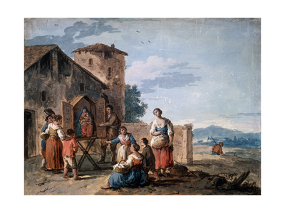 A Group of Peasants before the Tabernacle with the Standing Madonna Statue, C1750 Giclee Print by Giuseppe Zais