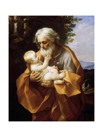Saint Joseph with Infant Christ, 1620S Lámina giclée por Guido Reni
