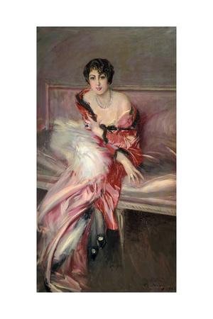 Madame Juillard' in Red, 1912 Giclee Print by Giovanni Boldini