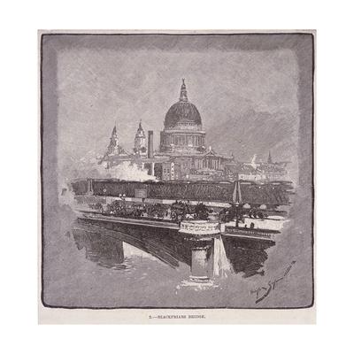 Blackfriars Bridge, London, 1796 Giclee Print by James Walker