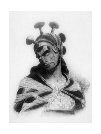 Hawaiian Warrior Wearing a Helmet with a Mushroom Ornamented Crest, 1819 Giclee Print by Jacques Etienne Victor Arago