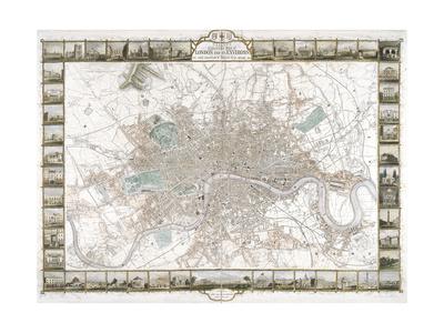Map of London, 1851 Gicléetryck av J Rapkin