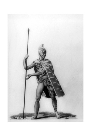 Young Officer Wearing a Typical Costume of Malo, Hawaii, 1819 Giclee Print by Jacques Etienne Victor Arago