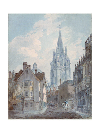 Oxford: St Mary's from Oriel Lane, 1792-1793 Giclee Print by Joseph Mallord William Turner