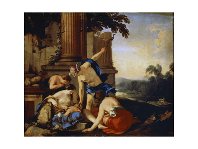 Mercury Giving the Child Bacchus to the Nymphs of Nysa, 1638 Giclee Print by Laurent de La Hyre