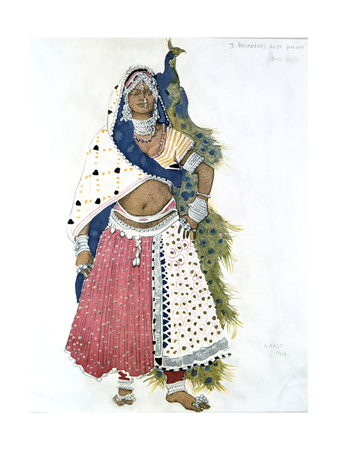 Bayadere with Peacock, Ballet Costume Design, 1911 Giclee Print by Leon Bakst