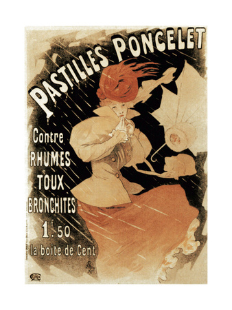 Advertising Poster for Pastilles Poncelet, a Cold and Bronchitis Remedy, 1896 Giclee Print by Jules Chéret