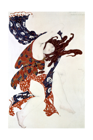 Premiere Bacchante, Costume Design for a Production of Tcherepnin's Narcisse, 1911 Giclee Print by Leon Bakst