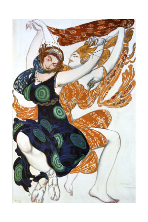 Two Bacchantes, Costume Design for a Ballets Russes Production of Tcherepnin's Narcisse, 1911 Giclee Print by Leon Bakst