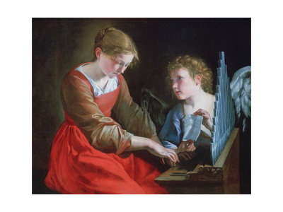 St Cecilia and an Angel, C1617-1618 and C1621-1627 Giclee Print by Orazio Gentileschi