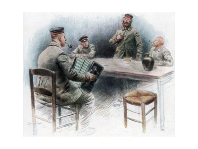 Sentimental Ballad in the Canteen, German Prisoners of War in Dinan, France, 1915 Giclee Print by Maurice Orange