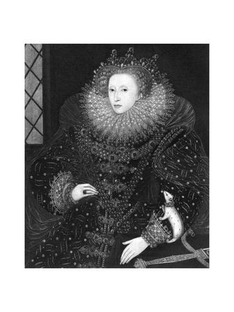 Queen Elizabeth, the Ermine Portrait, 1585 Giclee Print by Nicholas Hilliard