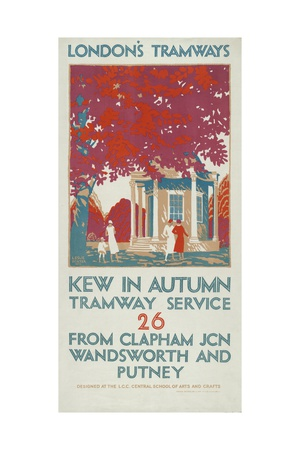 Kew in Autumn, London County Council (LC) Tramways Poster, 1925 Giclee Print by Leslie Porter