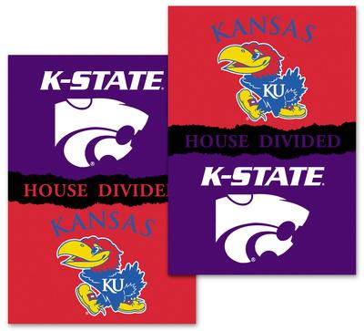 NCAA Kansas - Kansas St. 2-Sided House Divided Rivalry Banner Flag