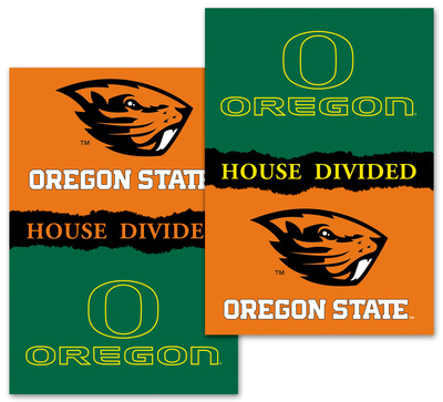 NCAA Oregon - Oregon State 2-Sided House Divided Rivalry Banner Flag