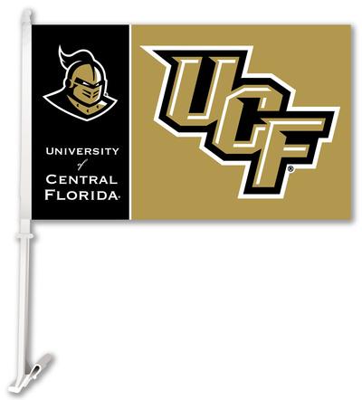 NCAA Central Florida Golden Knights Car Flag with Wall Bracket Flag