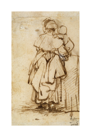 Woman with a Child on Her Lap, 1640S Giclee Print by  Rembrandt van Rijn