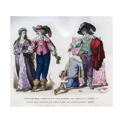 A Gentleman Leading a Country Bride,1636, and Louis XIII Creating a Knight, 1633 (1882-188) Giclee Print by  Tamisier