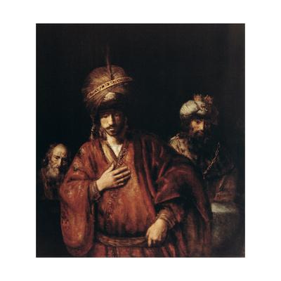 Haman Recognizes His Fate, C1665 Giclee Print by  Rembrandt van Rijn