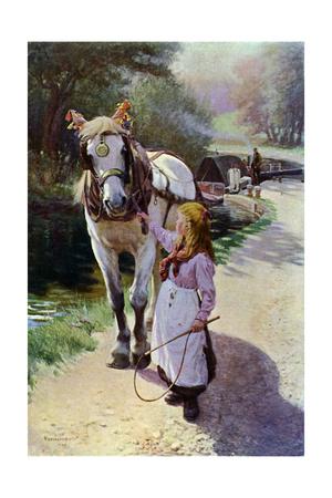 The Towing Path, 1900 (1902-190) Gicléetryck av Roland Wheelwright