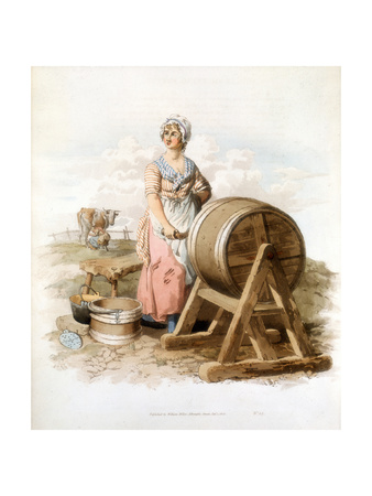 Women Making Butter, 1808 Giclee Print by William Henry Pyne