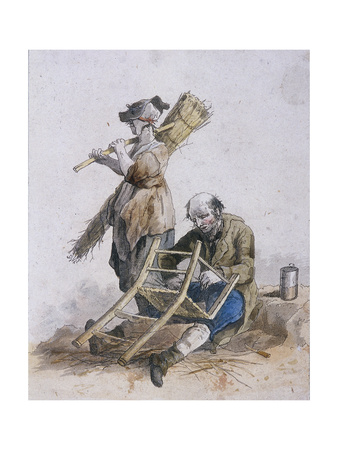 Two Chair Menders, Provincial Characters, 1804 Giclee Print by William Henry Pyne