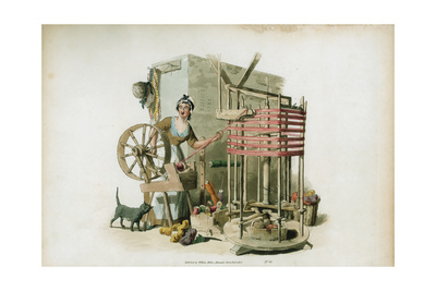 The Worsted Winder, 1805 Giclee Print by William Henry Pyne