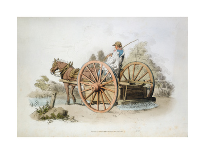 Watering Cart for Keeping Down Dust on Roads, 1808 Giclee Print by William Henry Pyne