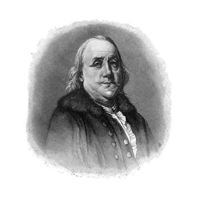 Benjamin Franklin, 18th Century American Scientist, Inventor and Statesman Giclee Print!