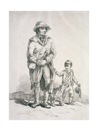 A Rustic with a Dog and a Boy, Provincial Characters, 1813 Giclee Print by William Henry Pyne