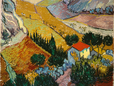 Landscape with House and Ploughman, 1889 Giclee Print by Vincent van Gogh