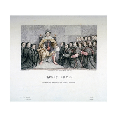 Henry VIII Granting the Charter to the Barber Surgeons, 16th Century Giclee Print by William P Sherlock