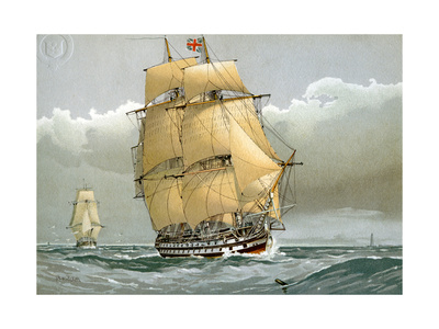 A 74 Gun Royal Navy Ship of the Line, C1794 (C1890-C189) Giclee Print by William Frederick Mitchell