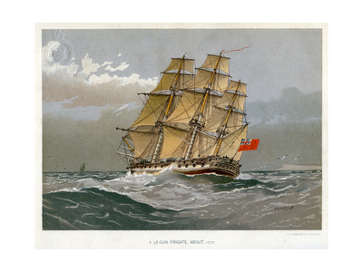 A Royal Navy 38 Gun Frigate, C1770 Giclee Print by William Frederick Mitchell
