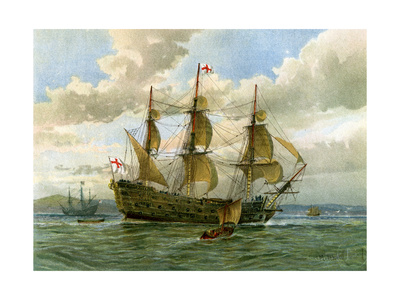 Royal Navy Battle Ship, C1650 Giclee Print by William Frederick Mitchell